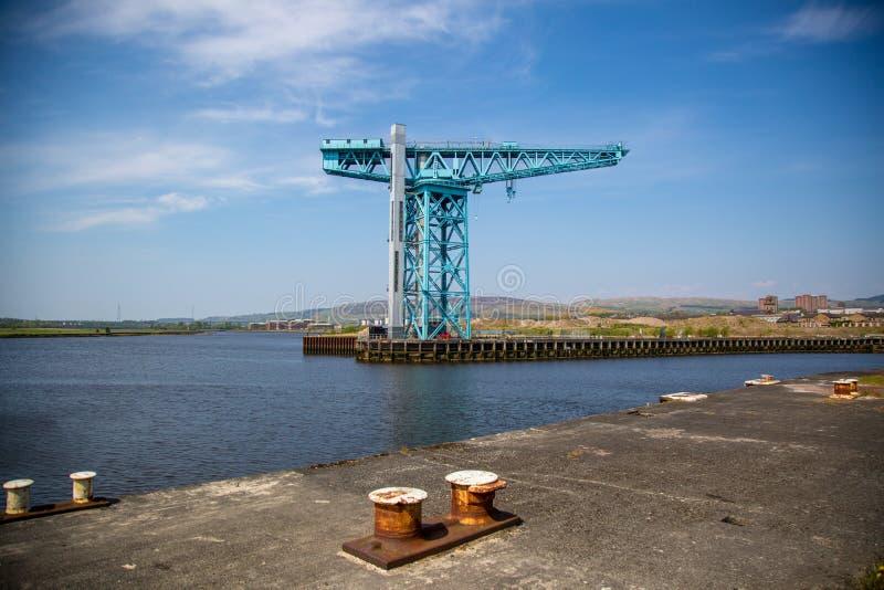 Der Titan-Kran am Standort von John Brown-` s Yard in Clydebank lizenzfreies stockbild