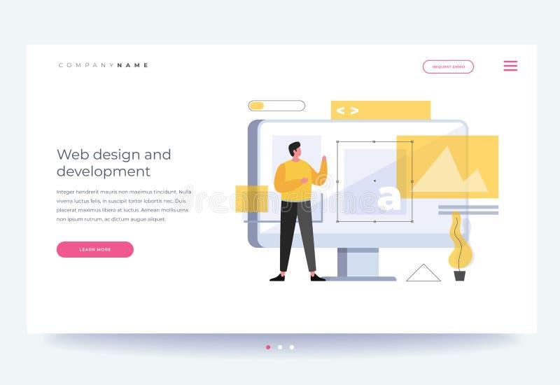 Der Titel für Website fahne Webdesignkonzept und Websiteentwicklung lizenzfreie abbildung