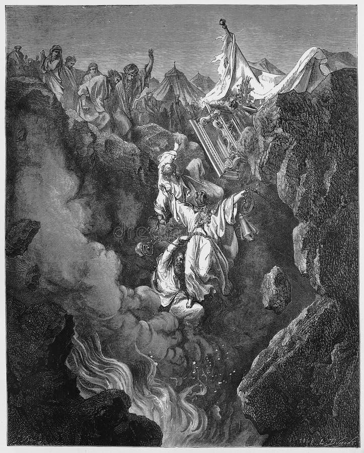 Der Tod von Korah, von Dathan und von Abiram lizenzfreie abbildung