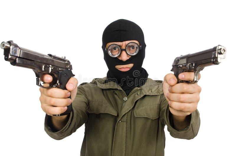 Der tragende Kopfschutz des lustigen Mannes lokalisiert auf Weiß stockbilder
