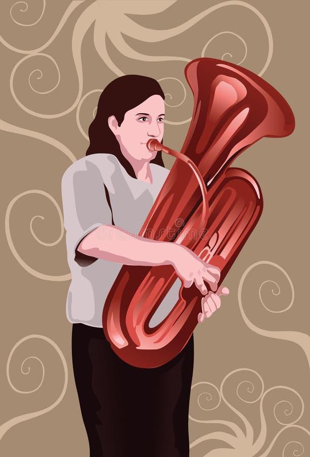 Der tuba-Ausführende lizenzfreie abbildung