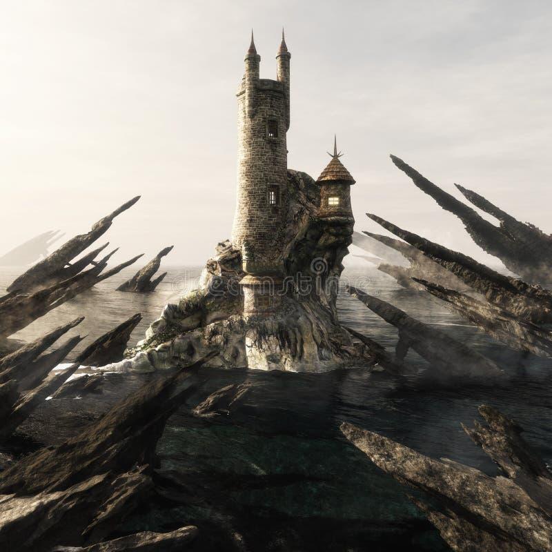 Der Turm des mysteriösen Zauberers, der hoch über einer Ozeaninselküstenlagune umgeben wurde durch Rasiermesser sitzt, umrandete  stockbilder