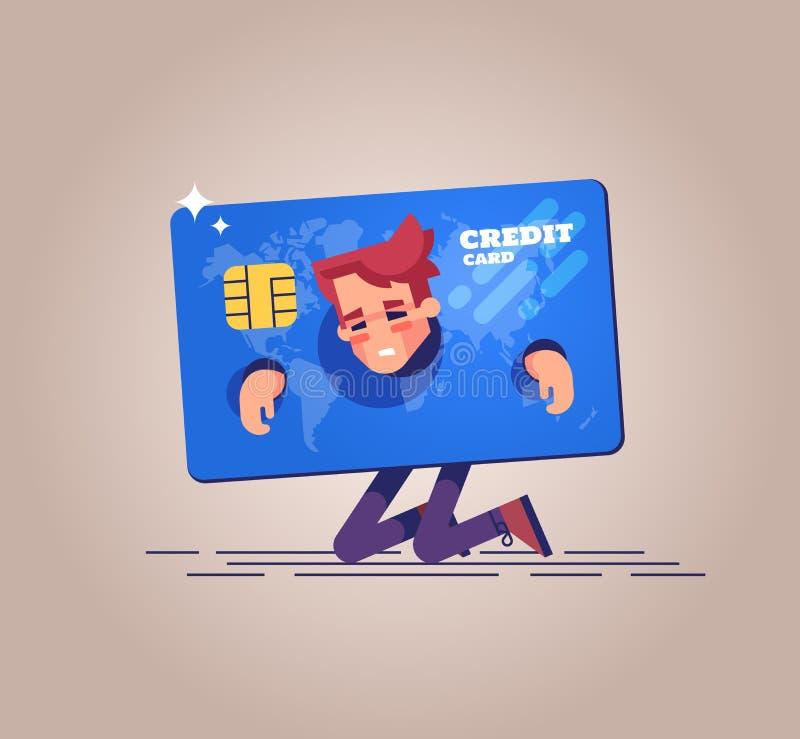 Der Umkippengeschäftsmann knit und shackled in den Fesseln in Form einer Kreditkarte Auch im corel abgehobenen Betrag lizenzfreie abbildung