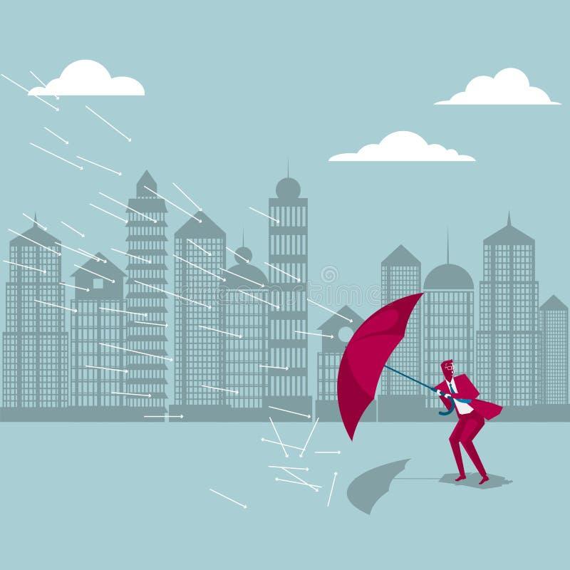 Der Unfall kommt Der Geschäftsmann versteckt sich unter dem Regenschirm lizenzfreie abbildung
