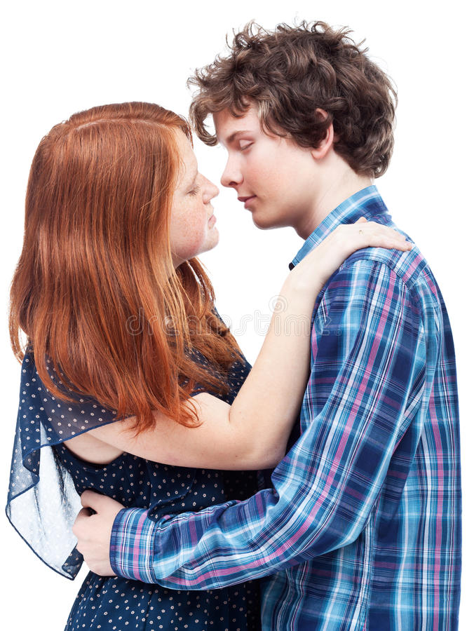 Der ungeschickte Moment vor dem ersten Kuss lizenzfreies stockbild