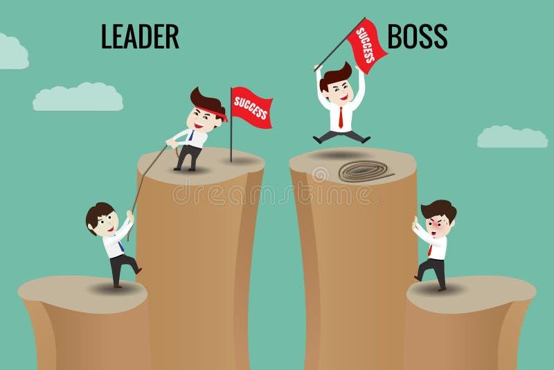 Der Unterschied zwischen Führer und Chef lizenzfreie abbildung