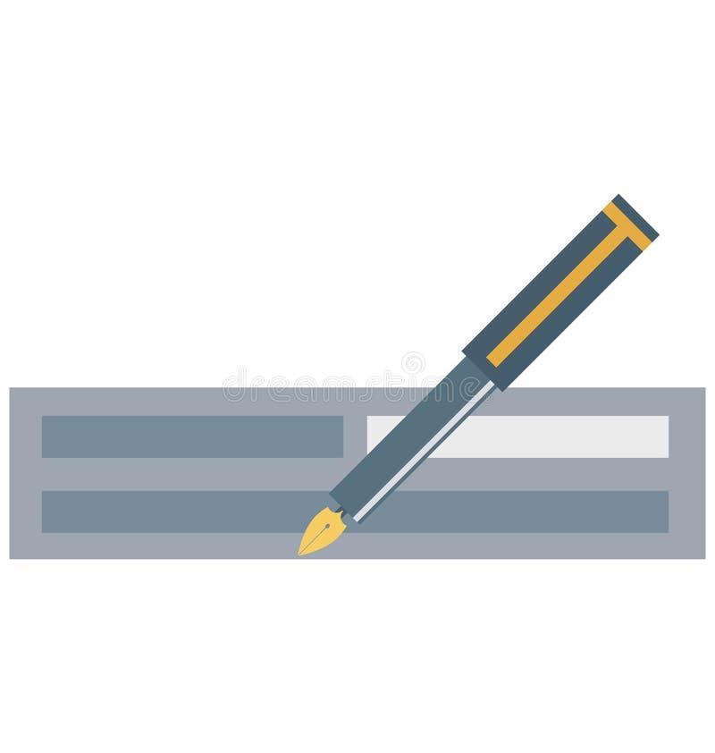 Der unterzeichnende Scheck, Empfang lokalisierte Vektor-Ikonen kann sein ändern mit jeder möglicher Art stock abbildung