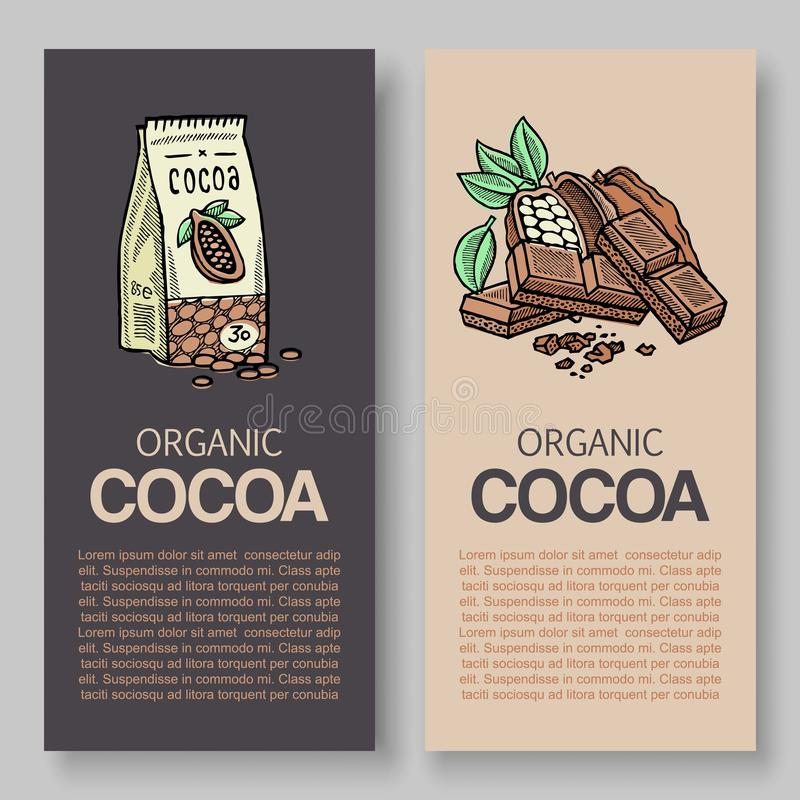Der ursprüngliche feinste Verpackungsgestaltungsaufkleber des Schokoladenvektors Typografie und Kakaopulversatz und Kakaoniederla vektor abbildung