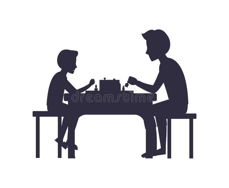Der Vater und Sohn, die Schach spielen, sitzen auf Stuhl-Tabelle stock abbildung