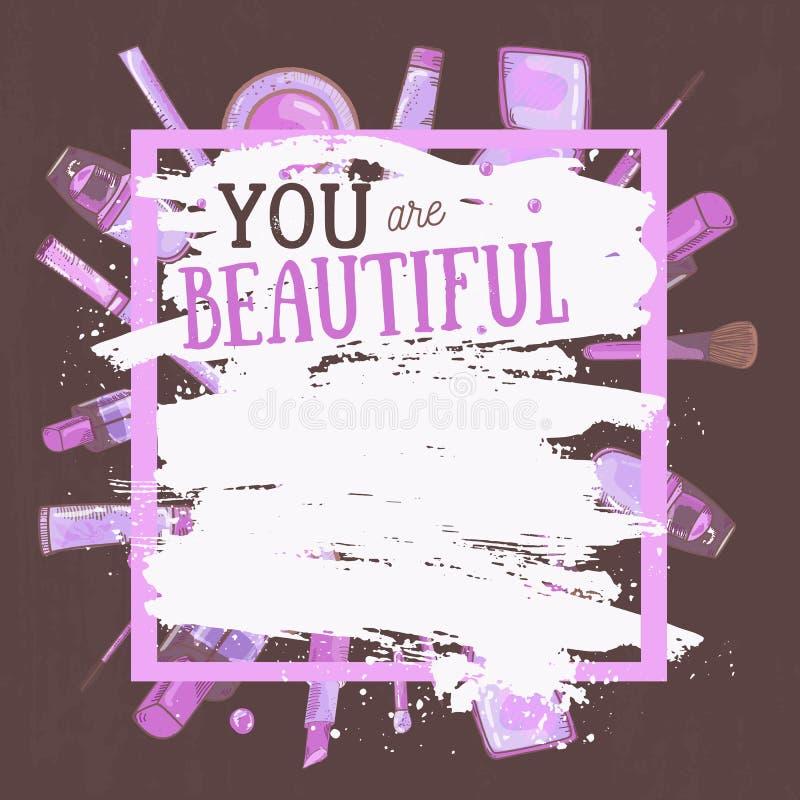 Der Vektor, der bezaubernd ist, bilden Rahmen, den Sie mit Abdeckstift schön sind, Nagellack und Lippenstift Kreatives Design für lizenzfreie abbildung