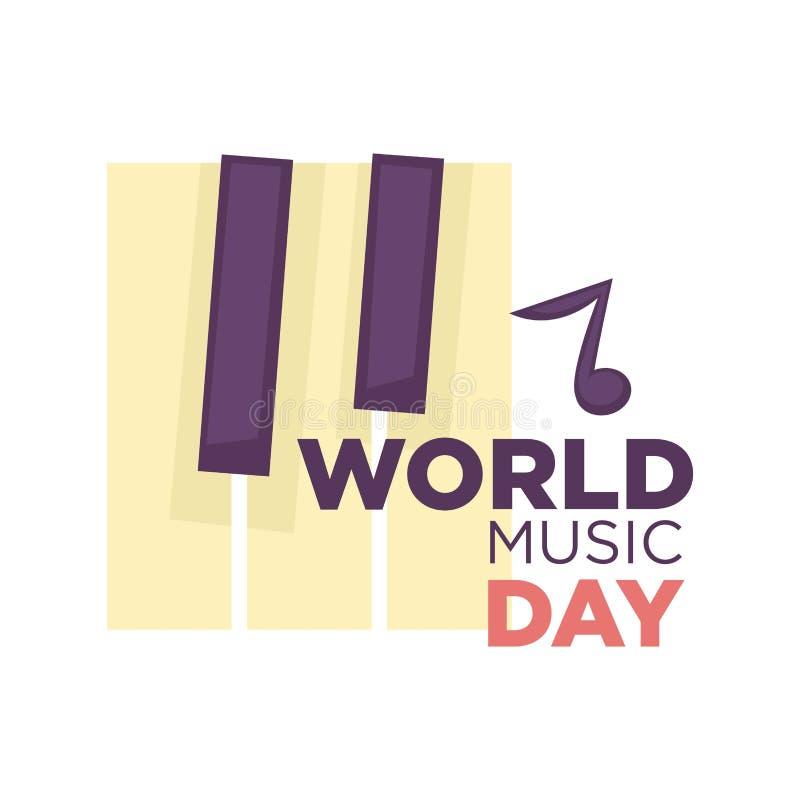 Der Vektorikone der Weltmusik Tag lokalisiertes Industrie-Feiertagslied musikalisches lizenzfreie abbildung