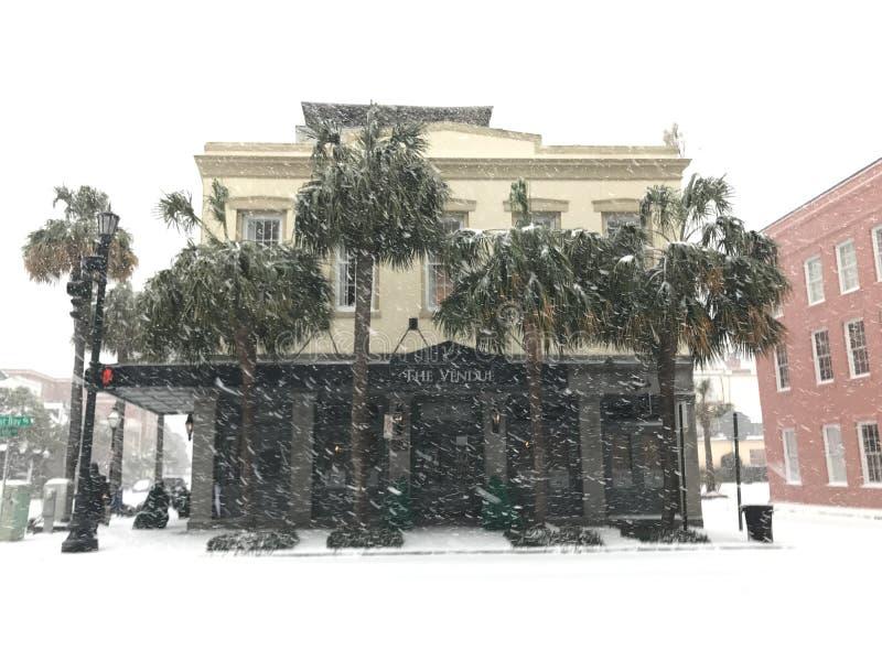 Der Vendue Schneesturm von 2018 stockbild