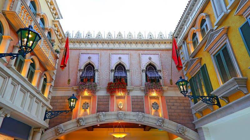 Der venetianische Hoteleinkaufssäulengang, Macao lizenzfreies stockfoto