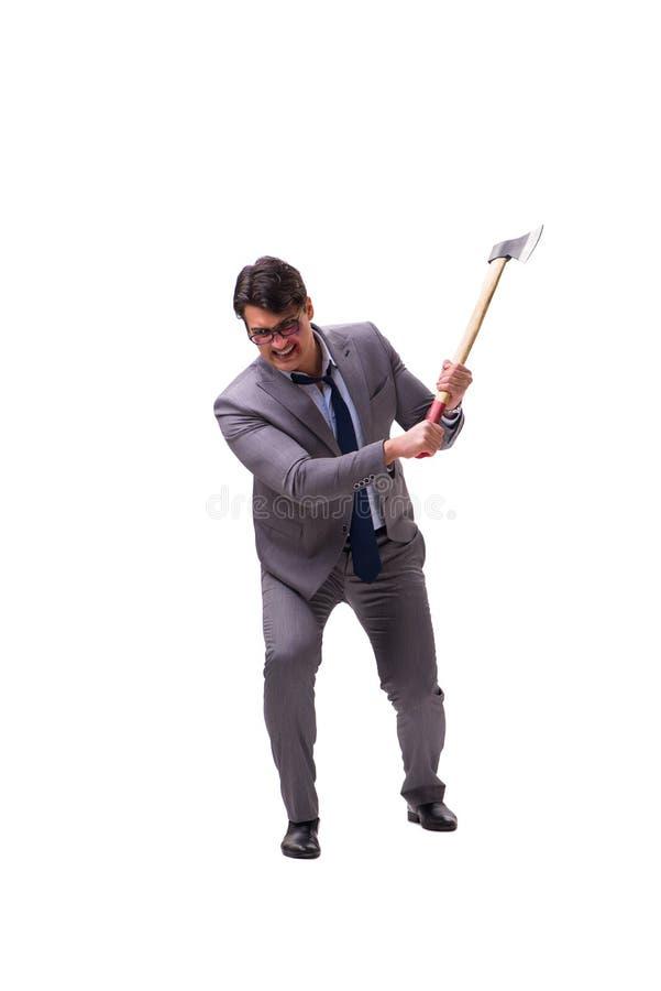 Der verärgerte Geschäftsmann mit der Axt lokalisiert auf Weiß stockfoto