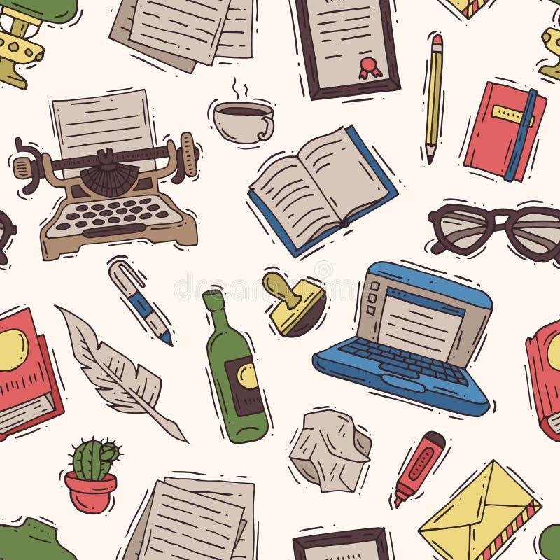Der Verfasserbürovektor, der Geschäft auf Schreibmaschine und Werbetexter schreibt, schreibt Buch auf Papier in Notizbuchillustra vektor abbildung