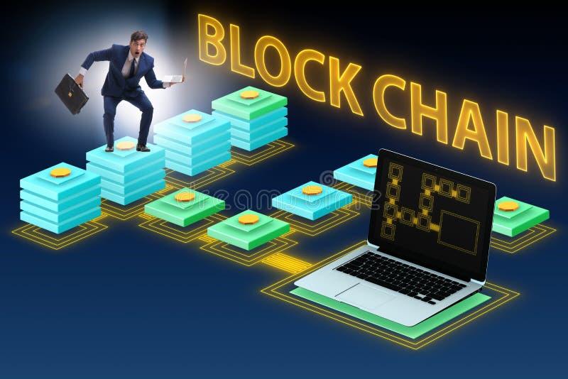 Der verwirrte Angestellte über blockchain Konzept lizenzfreies stockbild