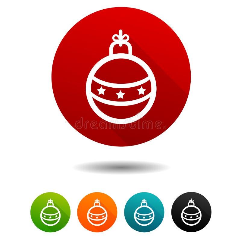 Der verzierte Pelzbaum Weihnachtsballzeichen Spielt Symbol die Hauptrolle Vektor-Kreisnetzknöpfe stock abbildung