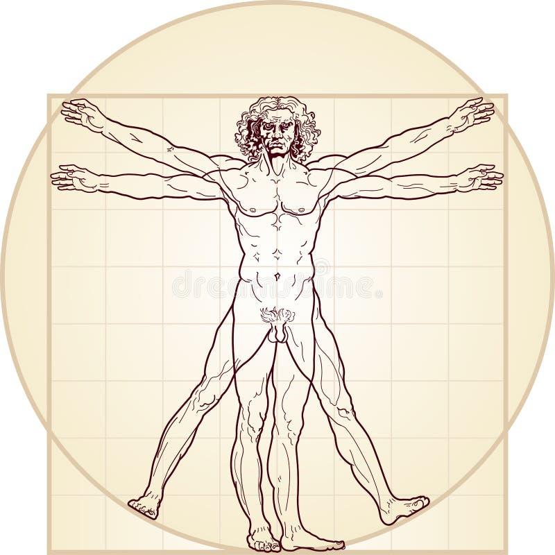 Der Vitruvian Mann lizenzfreie abbildung