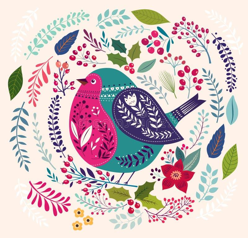 Der Vogel- und Blumenhintergrund stock abbildung