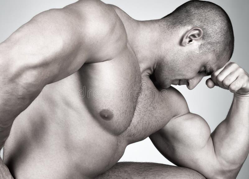 Der vollkommene muskulöse Mann stockfotografie