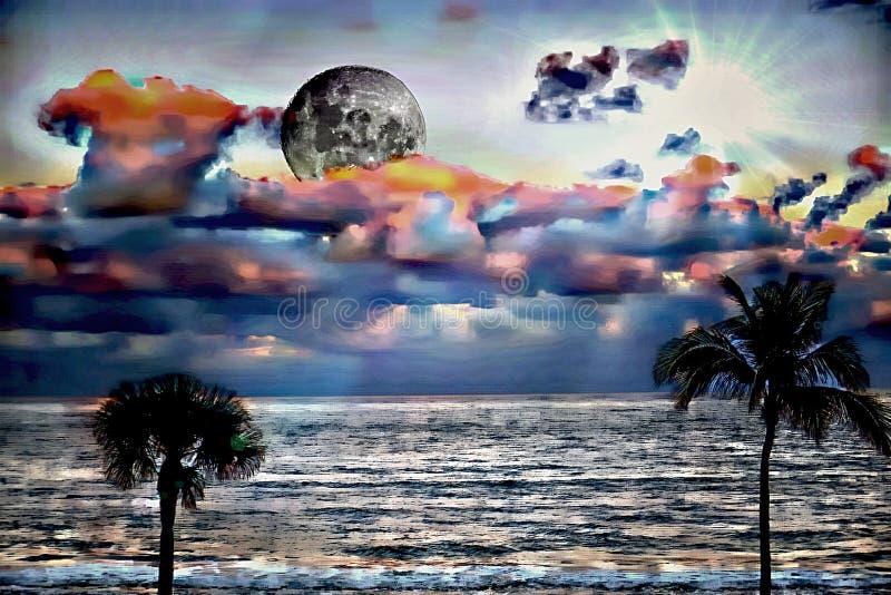 Der Vollmond gleitet in eine bunte Wolkebank und schickt ein diffuses Licht unten zu den Meereswogen unten stockfoto