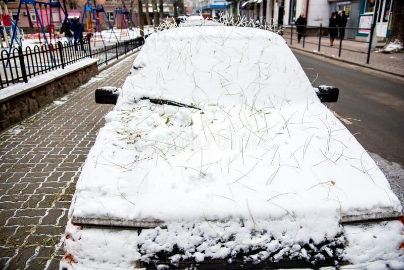 Der Wagen ist schneebedeckt und ein geheimnisvoller Friseur aus der Natur des Friseursalons, aus den Wurzeln gefallener Blätter stockbild