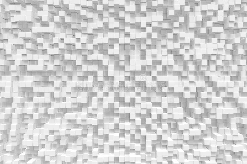 Der weiße geometrische Würfel, Kubik, Kästen, quadriert abstrakten Hintergrund der Form Abstrakte Weiß-Blöcke Schablonenhintergru stockfotos
