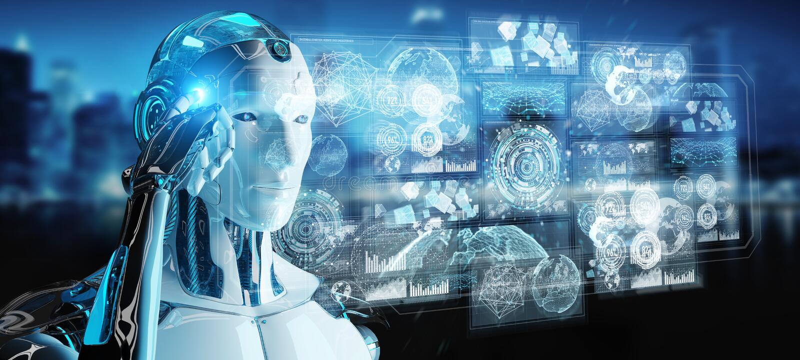 Der weiße männliche Cyborg, der digitale Daten verwendet, schließen Wiedergabe 3D an lizenzfreie abbildung