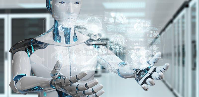 Der weiße männliche Cyborg, der digitale Daten verwendet, schließen Wiedergabe 3D an stock abbildung