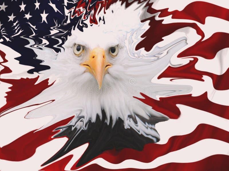 Der Weißkopfseeadler ist das Symbol der USA gegen die unscharfe amerikanische Flagge stockbilder