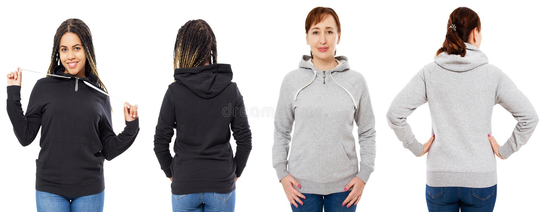 Der weibliche Haubensatz, der über weißem Hintergrund, graue Haube lokalisiert wurde, lokalisierte schwarzen Hoodiespott oben lizenzfreie stockbilder