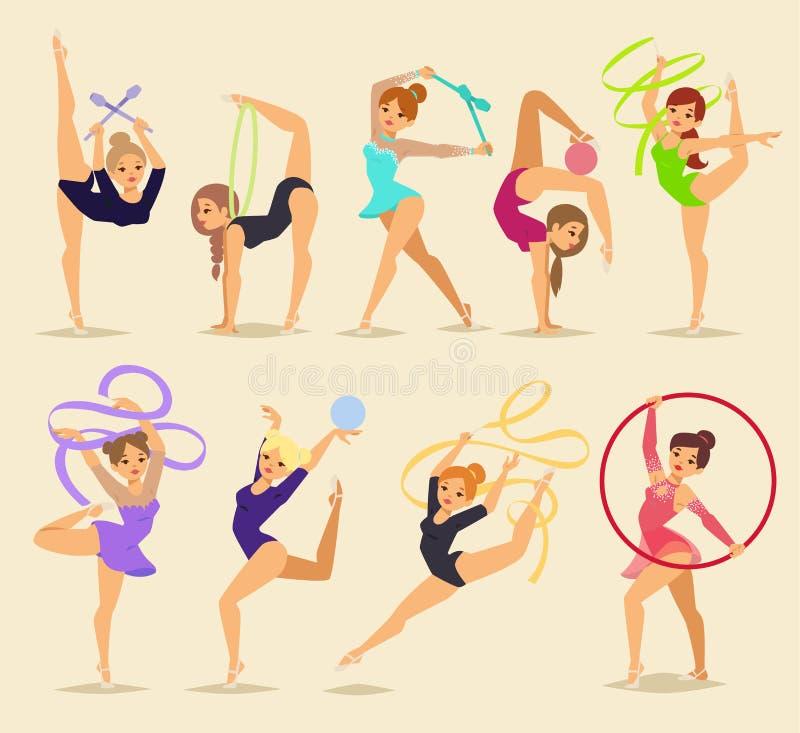 Der weiblichen traditionelle Vektorschattenbilder Tänzereignung der Ballerina auf Hintergrund Eleganzleistung allet Tänzermädchen lizenzfreie abbildung