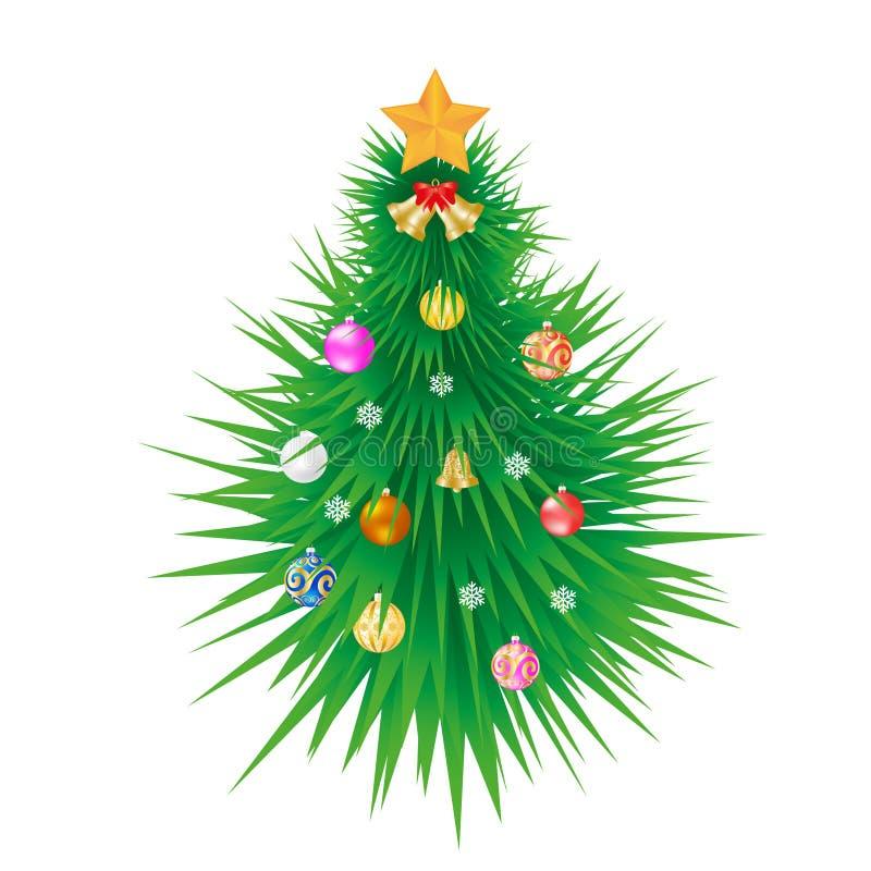 Der Weihnachtsbaum ist mit bunten Kugeln dekoriert, einem goldenen Stern vektor abbildung
