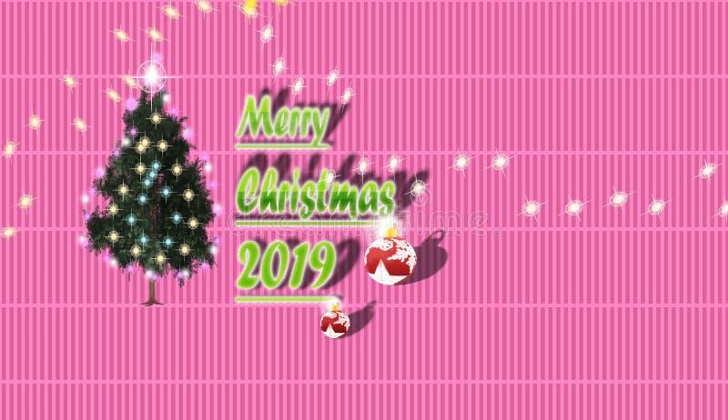 Der Weihnachtsbaum und der Stern unterhalb des Himmels im kopierten Ba lizenzfreie abbildung