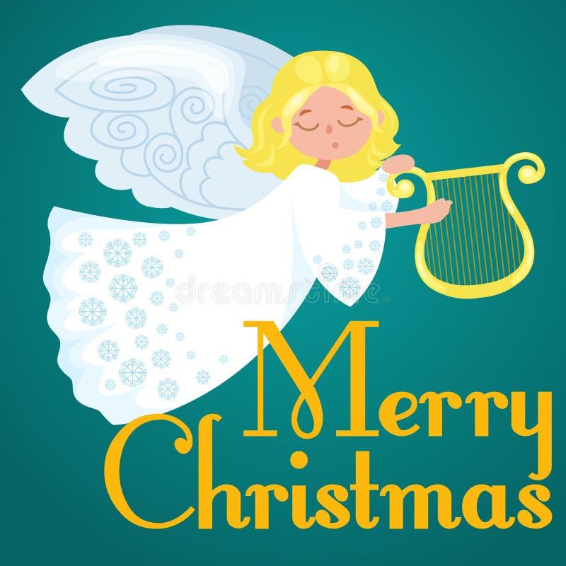 Der Weihnachtsfeiertag glücklichen Engel mit Flügeln fliegend mögen Symbol in der Vektorillustration der christlichen Religion od lizenzfreie abbildung