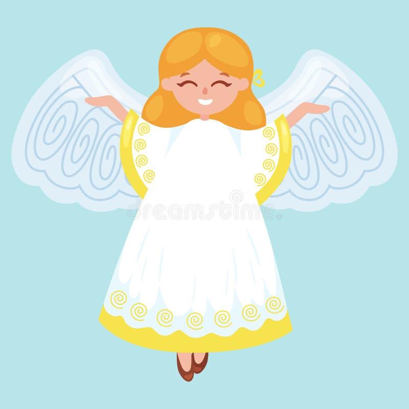 Der Weihnachtsfeiertag glücklichen Engel mit Flügeln fliegend mögen Symbol in der Vektorillustration der christlichen Religion od vektor abbildung