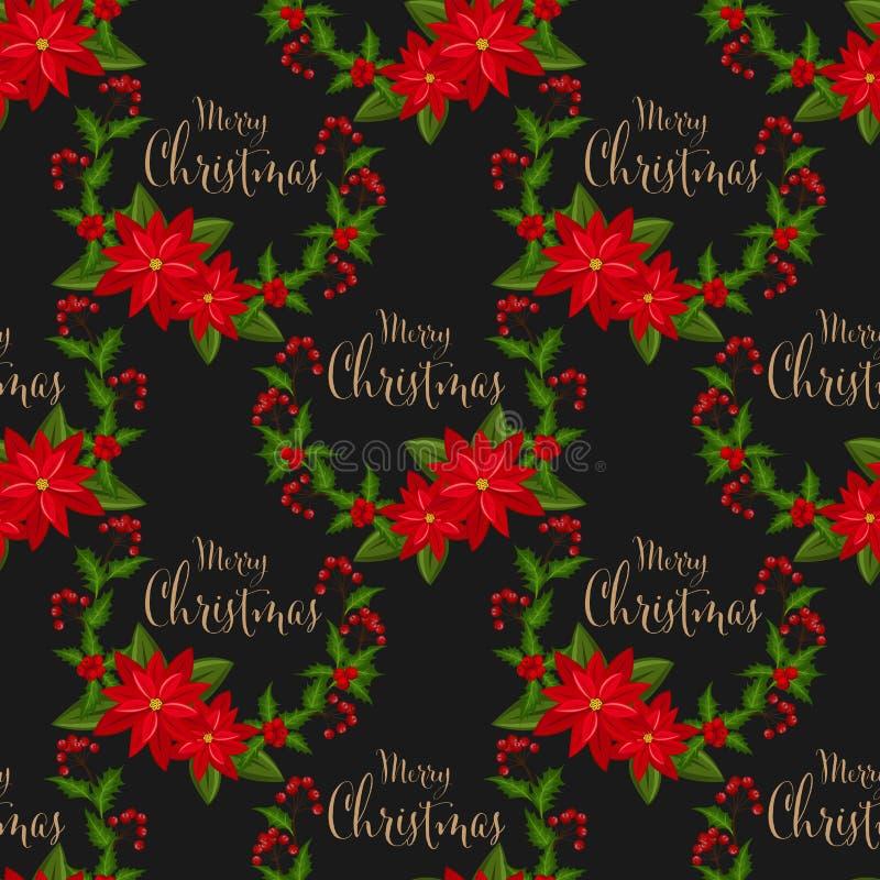 Der Weihnachtskranz, der mit Stechpalmenbeeren verziert wird, verzweigen sich und nahtlosem Muster der roten Poinsettia-Weihnacht vektor abbildung