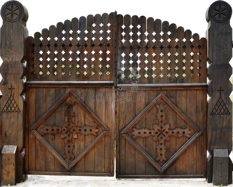 Der Weinlesekirche des Vorratfotos orthodoxe christliche Kirche der alten hölzernen Tore hölzernen stockfotos