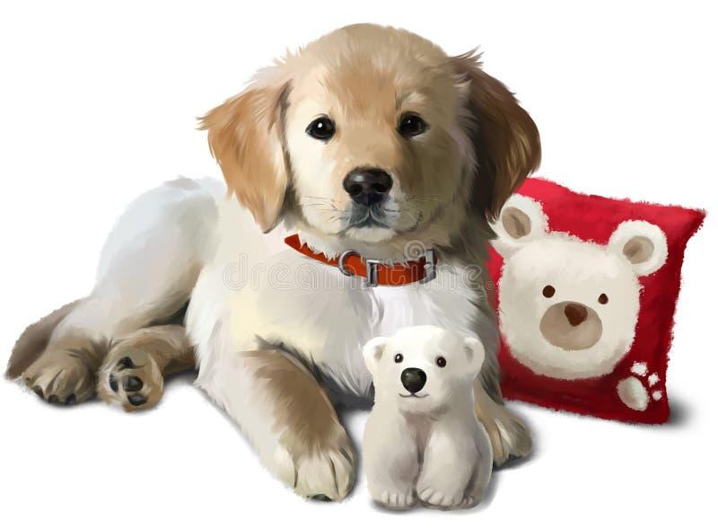 Der Welpe goldenes Labrador und ein Spielzeugeisbär lizenzfreie abbildung