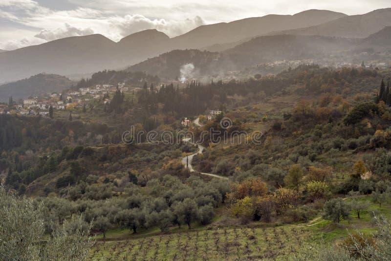 Der Winter in den Bergen Griechenland, Peloponnes stockfotografie