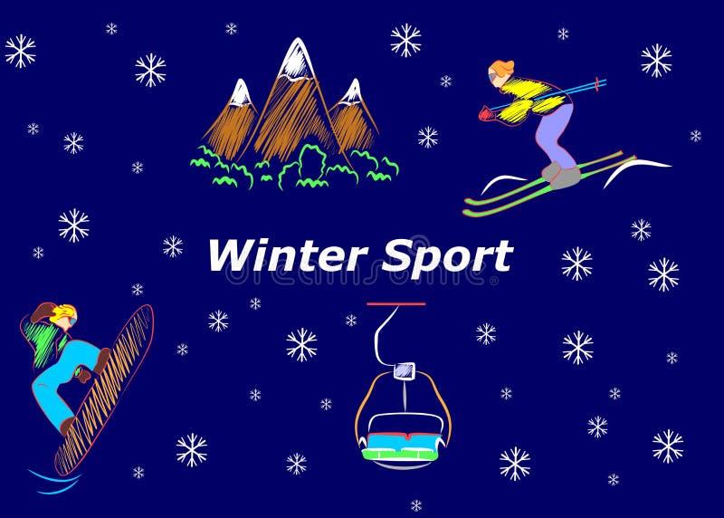Der Wintersport stock abbildung