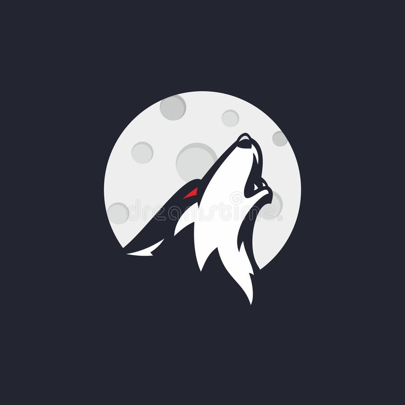 Der Wolf, der auf dem Mond durchbrannte lizenzfreie stockfotografie