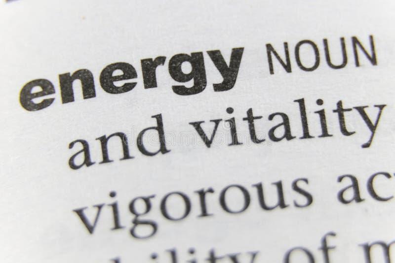 Der Wort-Energie-Abschluss oben stockbilder