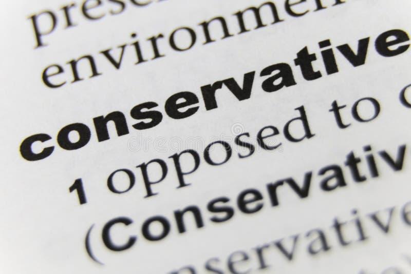 Der Wort-Konservativ-Abschluss oben lizenzfreies stockfoto