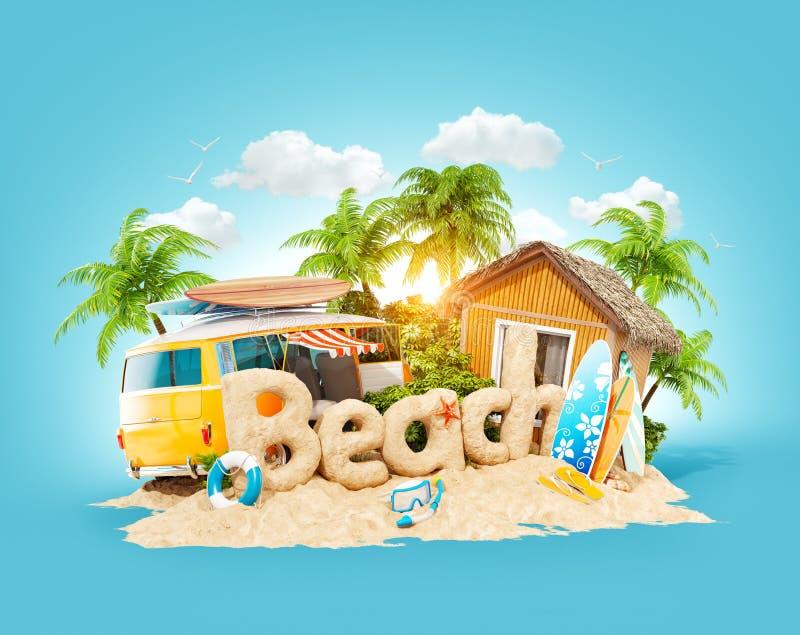 Der Wort Strand gemacht vom Sand auf Tropeninsel Ungewöhnliche Illustration 3d von Sommerferien Reise- und Ferienkonzept lizenzfreie abbildung