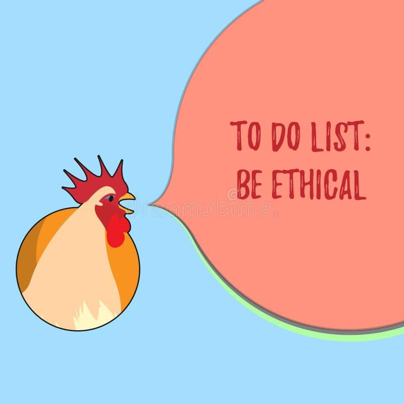 Der Wortschreibenstext, zum der Liste zu tun ist ethisch Geschäftskonzept für Plan oder Anzeige, die in einer ethischen Kultur au vektor abbildung