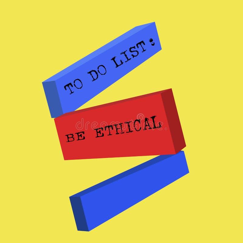 Der Wortschreibenstext, zum der Liste zu tun ist ethisch Geschäftskonzept für Plan oder Anzeige, die in einer ethischen Kultur au lizenzfreie abbildung