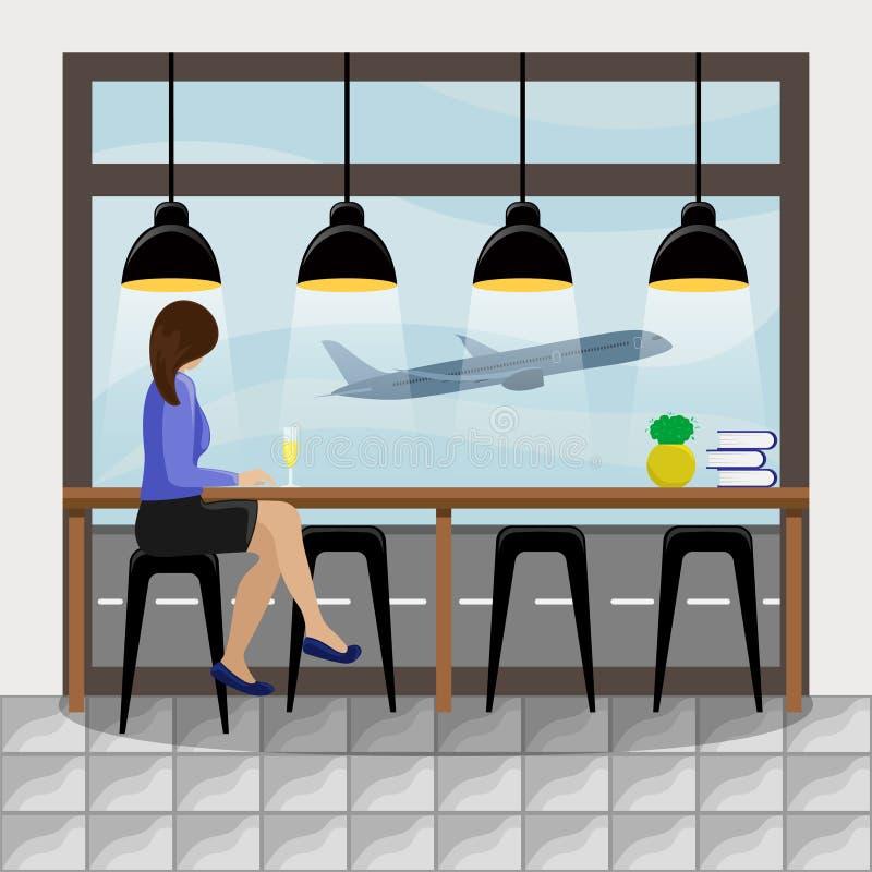 Der Zähler des Mädchens hinter dem Tresen am panoramischen Fenster am Flughafen stock abbildung