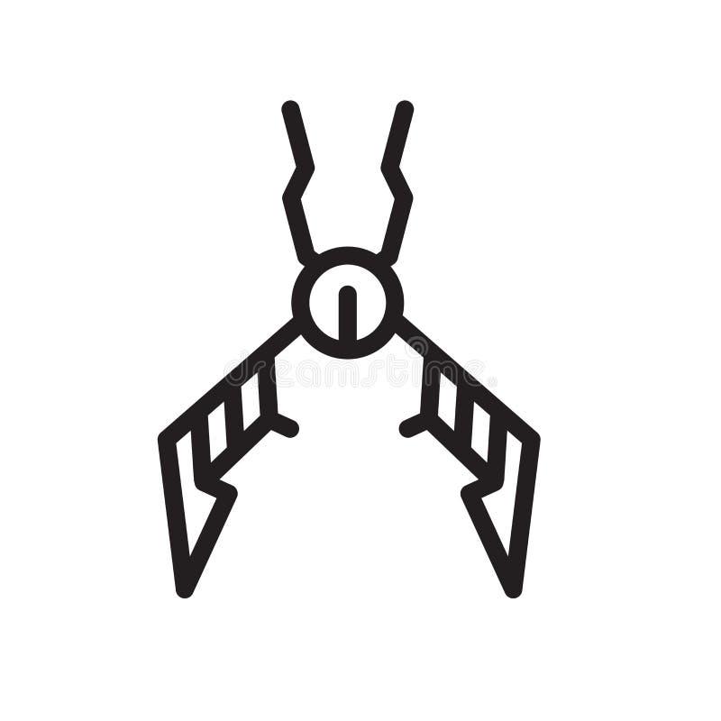 Der Zangenikonenvektor, der auf weißem Hintergrund lokalisiert wird, Zangen unterzeichnen, zeichnen Symbol oder linearen Elemente stock abbildung