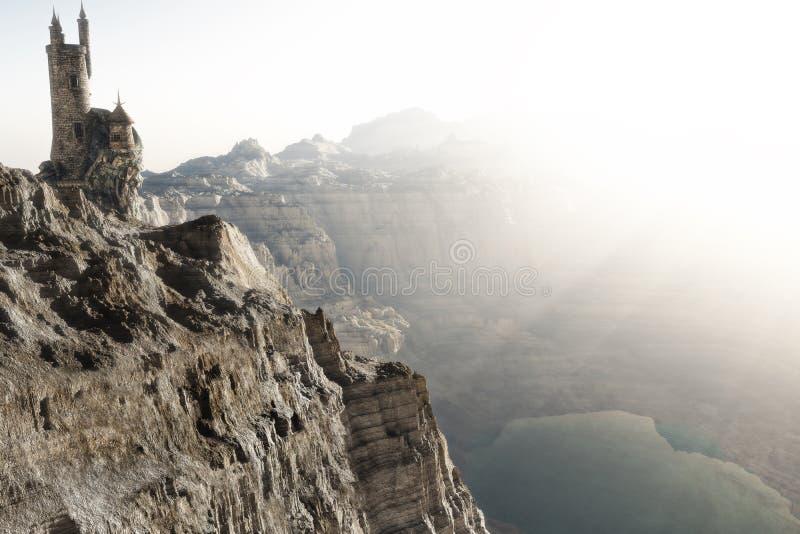 Der Zaubererturm, der über den Bergen hoch ist, umranden die Unterlassung von einem See Wiedergabeillustration des Fantasiekonzep lizenzfreie abbildung
